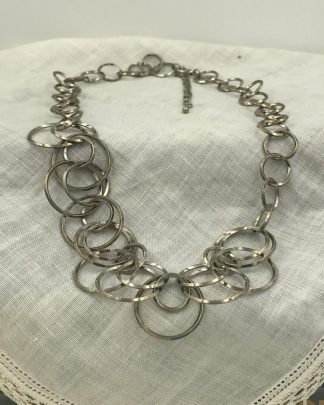 Lia Sophia Necklace Silver Large Link Chain Statement Retired Adjustable 21""