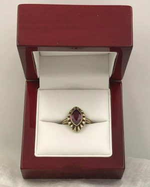 Art Deco Ruby Vintage Gemstone 10k Solid Yellow Gold Ring Size 6.5