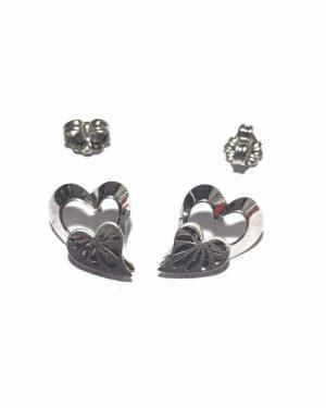 Vintage BEAU Sterling Silver Double Heart Stud Earrings – Post Earrings – 925