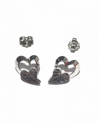 Vintage BEAU Sterling Silver Double Heart Stud Earrings - Post Earrings - 925
