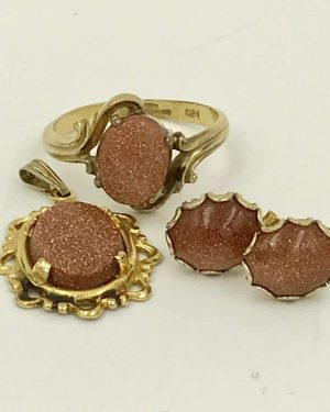 Vintage 10 K GF Goldstone Glittering Gold Tone Jewelry Set, Goldstone Earrings, Goldstone Ring, Goldstone Pendant Charm