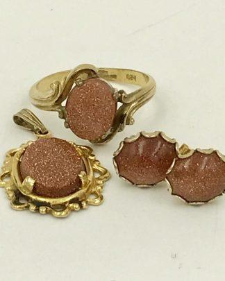 Vintage 10 K GF Goldstone Glittering Gold Tone Jewelry Set