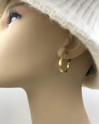 Thick Hoop Earrings Gold Tone