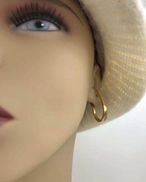 Thick Hoop Earrings Gold Tone w/ Post or Stud