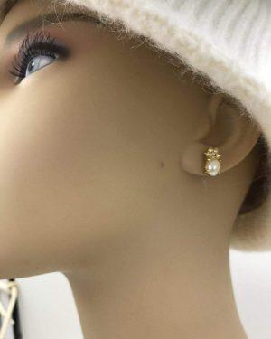 Pineapple Pearl Crystal Earrings Delicate Gold Tone Stud / Post Earrings