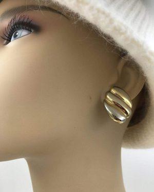 Vintage Napier Modernistic Gold Tone Earrings Deco Style Gold Stud Earrings