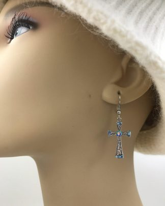 Silver Tone Rhinestone Cross Earrings Dangle Drop
