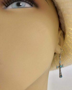 Silver Tone Rhinestone Cross Earrings Dangle Drop
