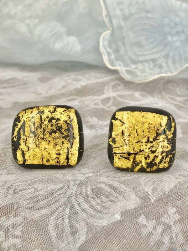 Vintage Gold Splatter Black Glass Square Earrings