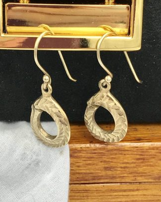 Spartan Leaf Design Round Earrings Gold Tone Dangle Hook Earrings