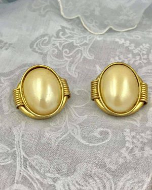 Vintage Faux Pearl Gold Tone Post Earrings – Huge Faux Pearl Cabochon