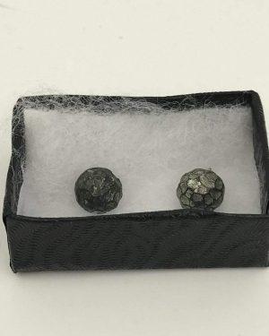 Hammered Design Black Post Earrings – Half Circle Delicate Black Stud Earrings
