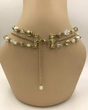 Lia Sophia Gardenia Necklace Gold Tone Multi-strand Chain w/ Beads Necklace 15″ + 3″