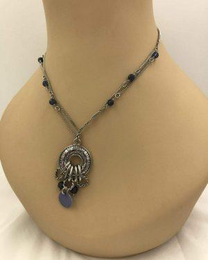 Lia Sophia Necklace Silver Tone Multi-Strand Chain w/ Circle Pendant and Charms