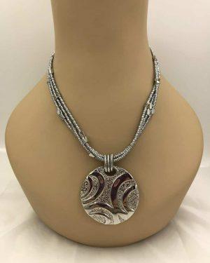 Lia Sophia Necklace Multi-Strand Silver tone Bead Chain Circle Statement Pendant