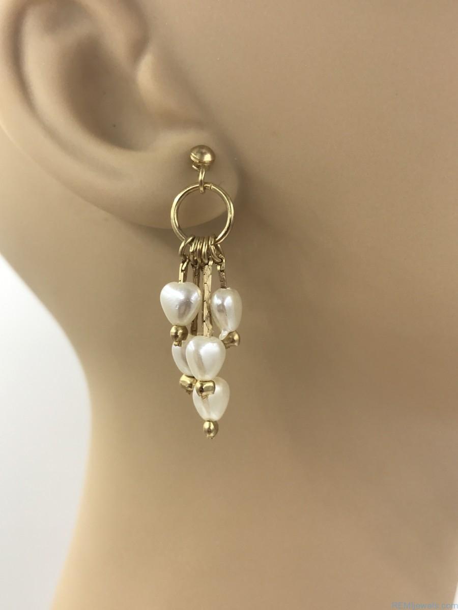 Vintage Pearl Heart Dangle Earrings Multiple Faux Pearls Gold Tone Post