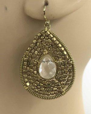 Gold Seed Bead Teardrop Clear Crystal Earrings – Gold Tone Dangle Earrings