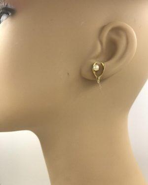 Vintage Wishbone Pearl Earrings – Gold Tone Post Earrings