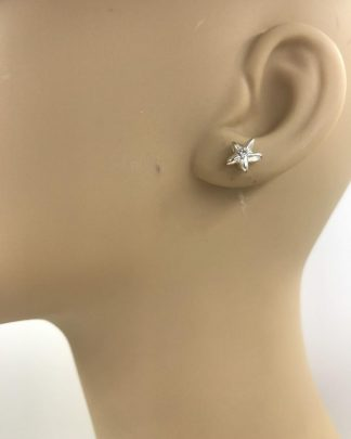 Silver Sparkly Tiny Star Crystal - Silver Tone Post Earrings