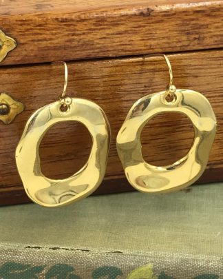 Heavy Gold O Earrings - Gold Tone Dangle Earrings