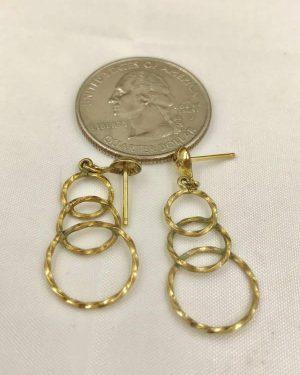 Vintage Gold Tone Three Circle Earrings – Gold Tone Post Earrings