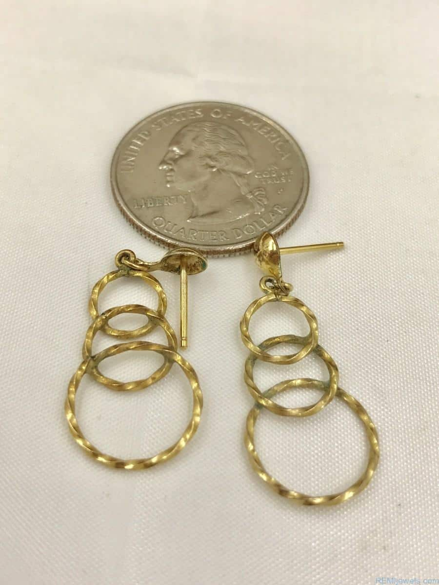 Vintage Gold Tone Three Circle Earrings Gold Tone Post