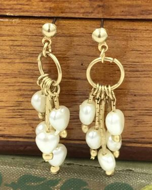 Vintage Pearl Heart Dangle Earrings – Multiple Faux Pearls – Gold Tone Post Earrings