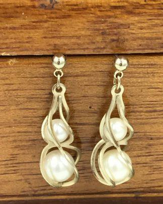 Vintage Two Pearl Dangle Earrings