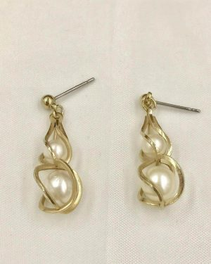 Vintage Two Pearl Dangle Earrings – Gold Tone Post Earrings