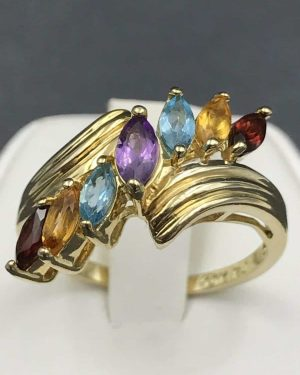 Elegant Mother's Marquise Birthstone Seven Stone Ring 10K Yellow Gold Size 7