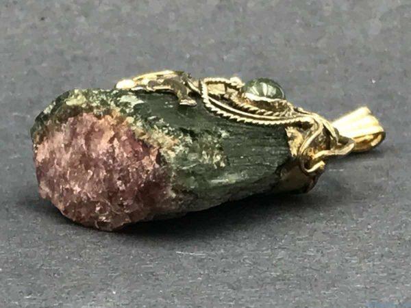 Watermelon Tourmaline Jumping Unicorn Star Vintage Pendant Mineral Specimen