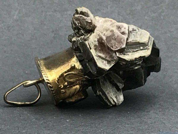 Mica Onyx Vintage Bead Work Filigree Pendant Mineral Specimen