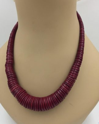 Red Graduated Disc Necklace - Chunky