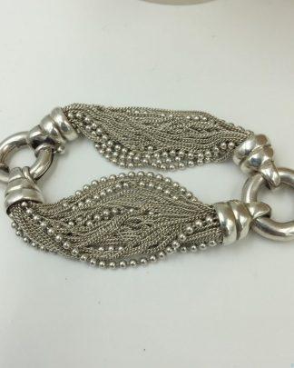 Rare Vintage Designer Multi-strand Bracelet, Italian Solid Sterling Silver