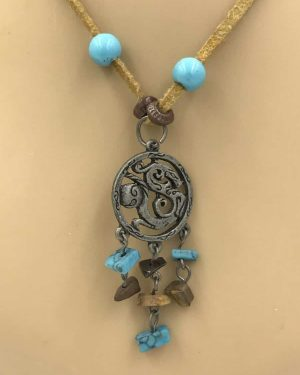 Southwest Necklace Metal Dragon Pendant Turquoise Gemstones Leather Cord 16″ + 3 Inches