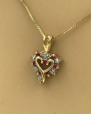 Sterling Silver Red Gemstone Heart Gold Tone Necklace 18″
