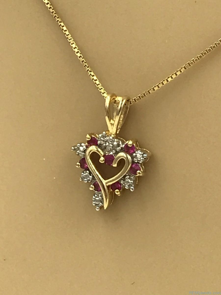 Sterling Gemstone Heart Necklace Remijewels Vintage Jewelry