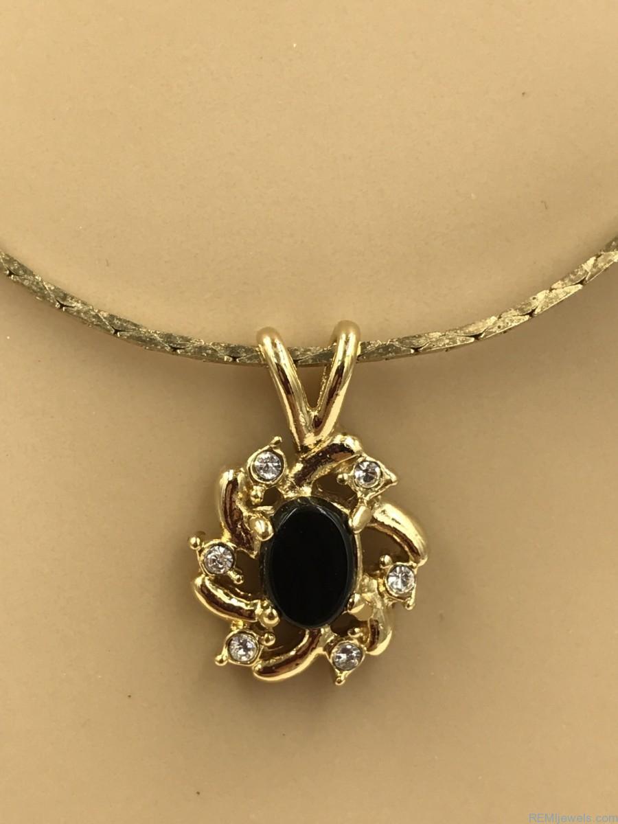 Rhinestone Necklace Centered Cabochon Black Onyx