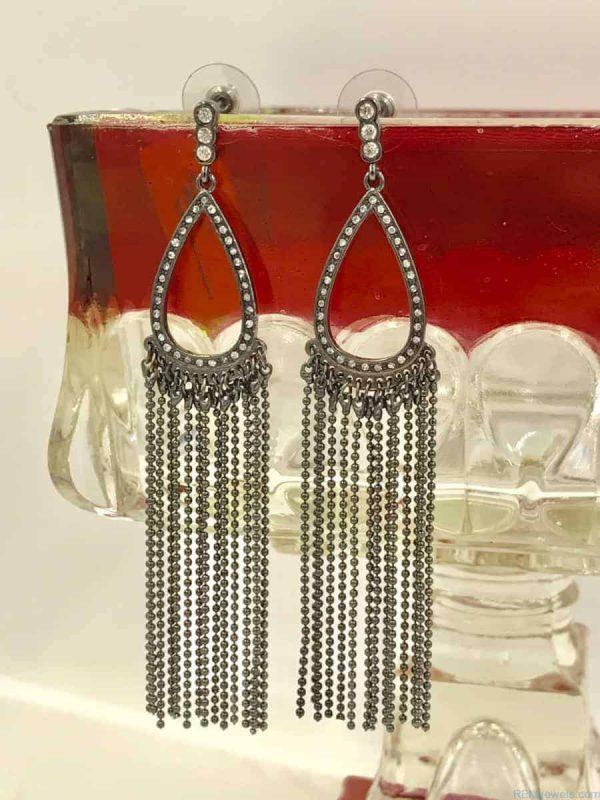 Black Teardrop Bead Dangle Round Crystals Earrings