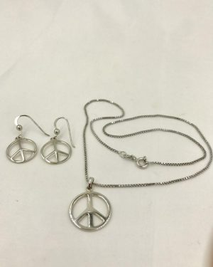 Vintage Sterling Silver Designer Peace Charm Jewelry Set – Marked 925 CI – Earrings / Necklace 16″