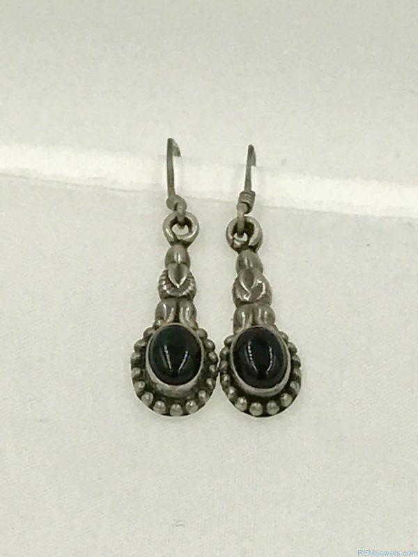 Vintage Sterling Silver Onyx Gemstone Dangle Earrings - Marked 925