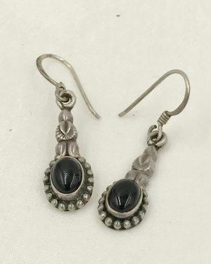 Vintage Sterling Silver Onyx Gemstone Dangle Earrings – Marked 925