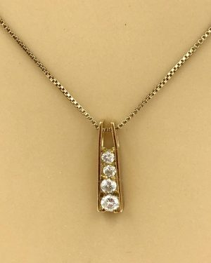 Vintage Sterling Silver Cubic Zirconia Dangle Charm Necklace 18″ Marked 925 China CZ Italy