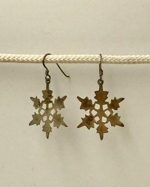 Vintage Sterling Silver Snowflake Dangle Earrings