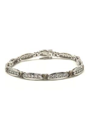 Ladies Sterling Silver 925 Wedding Gift CZ Tennis Bracelet 7.5″ Hugs Kisses Cubic Zirconia