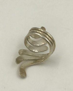 Hammered Vintage Sterling Silver Ring Wide Size 8