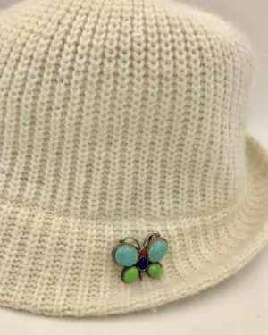 Vintage Sterling Silver Butterfly Turquoise Gemstone Cabochon Pendant Pin – Southwest Style