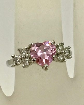 Stainless Steel Pink Rose Heart Crystal Promise Ring