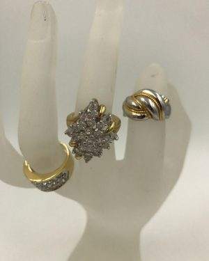 Set 3 Beautiful Fashion Rings – Gold Silver Tone Band Sizes 5, 5, 6.5