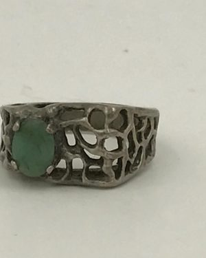 Vintage Square Filigree Green Gemstone Ring – Size 9